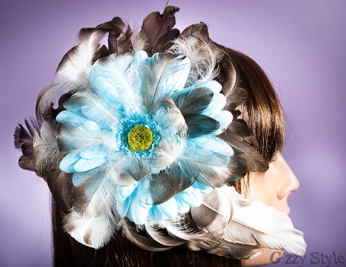 Feather Hair Fascinator - Blue, White & Brown/Black - Cruelty-Free - Duck Feathers - Bridal - Special Occasion - Free Shipping